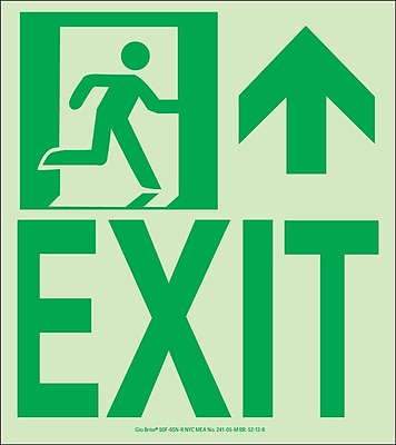 NYC Wall Mount Exit Sign, Forward/Right Side, 9X8, Flex, 7550 Glow Brite, MEA Approved