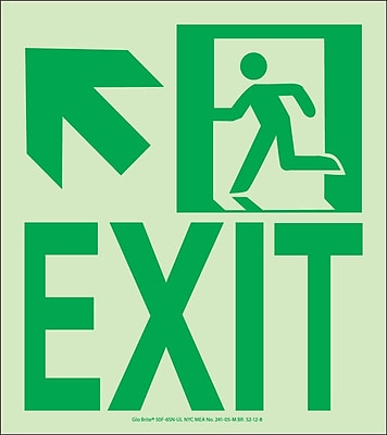 NYC Wall Mount Exit Sign, Up Left, 9X8, Flex, 7550 Glow Brite, MEA Approved