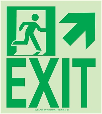 NYC Wall Mount Exit Sign, Up Right, 9X8, Flex, 7550 Glow Brite, MEA Approved