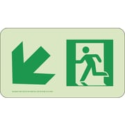 Nyc Directional Sign, Down Left, 4.5X8, Rigid, 7550 Glow Brite, Mea Approved