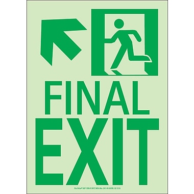 NYC Final Exit Sign, Up Left, 11
