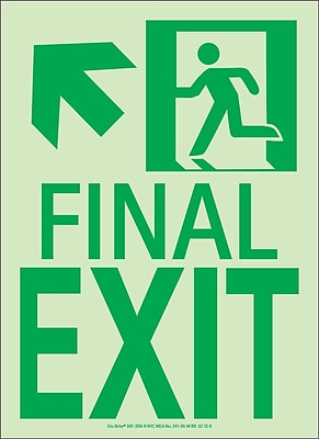 NYC Final Exit Sign, Up Left, 11X8, Flex, 7550 Glow Brite, MEA Approved