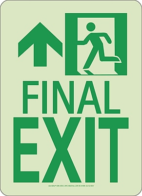 Nyc Final Exit Sign, Forward/Left Side, 11X8, Rigid, 7550 Glo Brite, Mea Approved