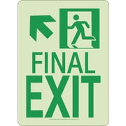 Nyc Final Exit Sign,Up Left, 11X8, Rigid, 7550 Glo Brite, Mea Approved