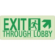 NYC Exit Through Lobby Sign, Up Right, 7X16, Rigid, 7550 Glow Brite, MEA Approved