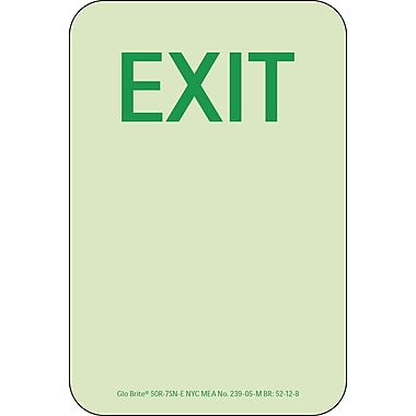 NYC Door Handle Markers, Exit, 6X4, Rigid, 7550 Glow Brite, MEA Approved