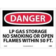 Danger, Lp Gas Storage No Smoking Or Open. . ., 10X14, Adhesive Vinyl