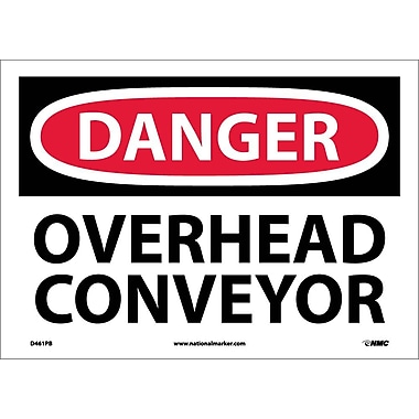 Danger, Overhead Conveyor, 10X14, Adhesive Vinyl