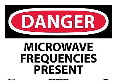 Danger, Microwave Frequencies Present, 10X14, Adhesive Vinyl