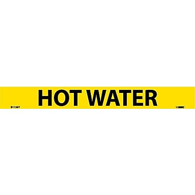 Pipemarker, Adhesive Vinyl, Hot Water, 1X9 3/4