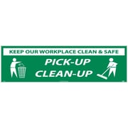 Banner, Keep Our Workplace Clean & Safe Pick-Up Clean-Up, 3Ftx10Ft, Polyethylene,