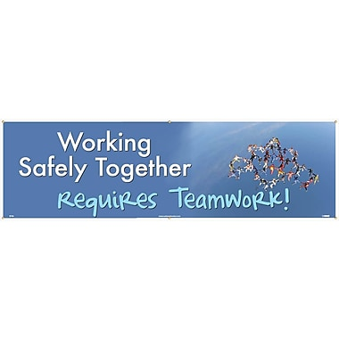 Banner, Working Safety Together Requires Teamwork, 3' x 10'