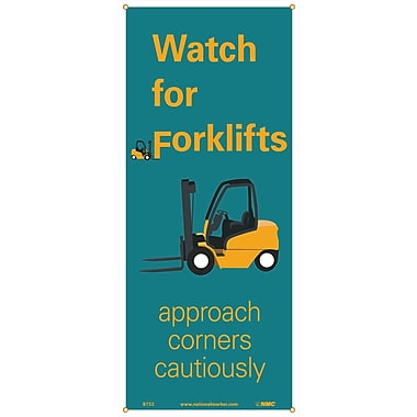 Banner, Watch For Forklifts Approach Corners Cautiously, 60