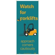 "Banner, Watch For Forklifts Approach Corners Cautiously, 60"" X 26"""