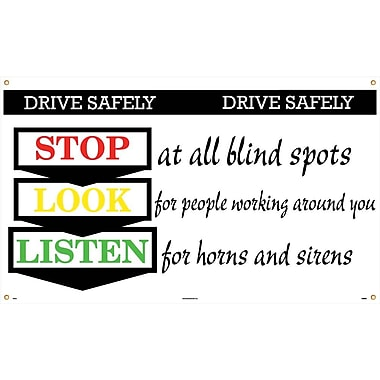 Banner, Drive Safely Stop Look Listen, 3' x 5'