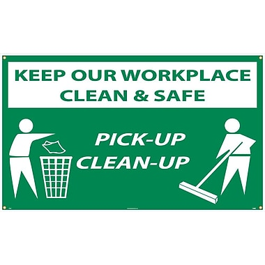 Banner, Keep Our Workplace Clean & Safe Pick-Up Clean-Up, 3Ftx5Ft, Polyethylene,