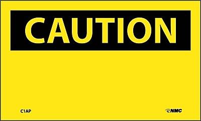Caution, (Header Only), 3X5, Adhesive Vinyl, 5/Pk