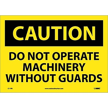 Caution, Do Not Operate Machinery Without Guards, 10X14, Adhesive Vinyl