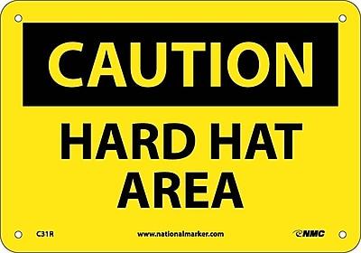 Caution, Hard Hat Area, 7X10, Rigid Plastic