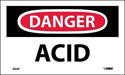 Labels - Danger, Acid, 3X5, Adhesive Vinyl, 5/Pk