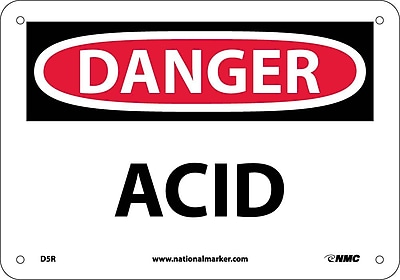 Danger, Acid, 7X10, Rigid Plastic