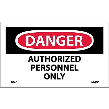Labels - Danger, Authorized Personnel Only, 3X5, Adhesive Vinyl, 5Pk