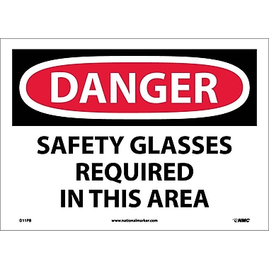 Danger, Safety Glasses Required In This Area, 10
