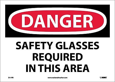 Danger, Safety Glasses Required In This Area, 10X14, Adhesive Vinyl