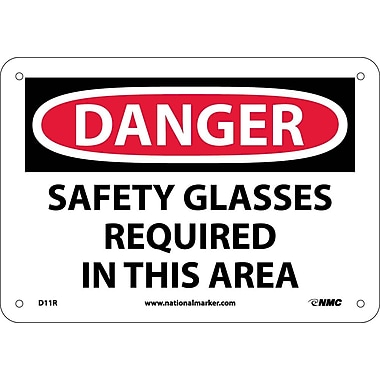 Danger, Safety Glasses Required In This Area, 7