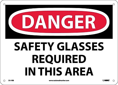 Danger, Safety Glasses Required In This Area, 10X14, Rigid Plastic