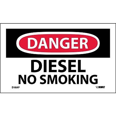 Labels - Danger, Diesel No Smoking, 3X5, Adhesive Vinyl, 5Pk
