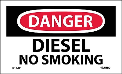 Labels - Danger, Diesel No Smoking, 3X5, Adhesive Vinyl, 5Pk