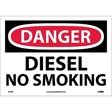 Danger, Diesel No Smoking, 10X14, Adhesive Vinyl