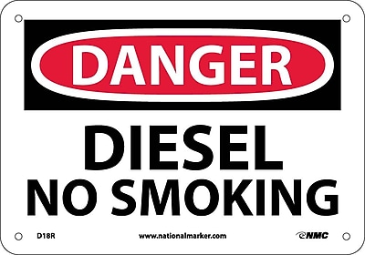 Danger, Diesel No Smoking, 7X10, Rigid Plastic
