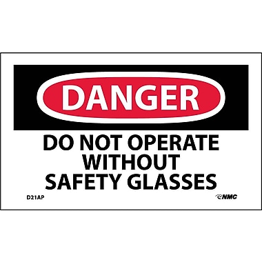 Labels Danger, Do Not Operate Without Safety Glasses, 3