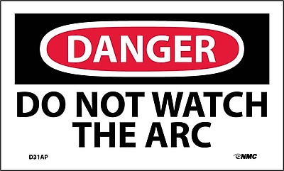 Labels - Danger, Do Not Watch The Arc, 3X5, Adhesive Vinyl, 5/Pk