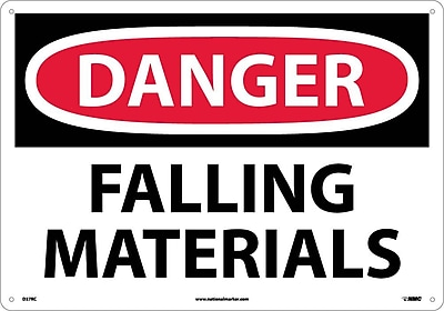 Danger Falling Materials 14x20, Fiberglass