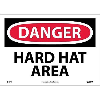 Danger, Hard Hat Area, 10X14, Adhesive Vinyl