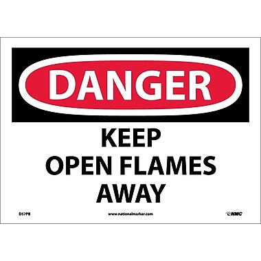 Danger, Keep Open Flames Away, 10X14, Adhesive Vinyl