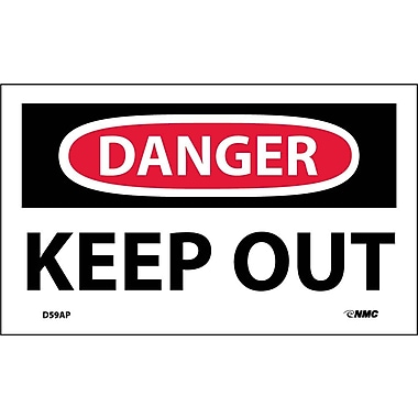 Labels - Danger, Keep Out, 3X5, Adhesive Vinyl, 5/Pk
