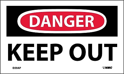 Labels - Danger, Keep Out, 3X5, Adhesive Vinyl, 5/Pk