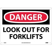 Danger, Look Out For Fork Lifts, 10X14, .040 Aluminum