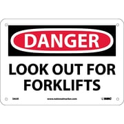 Danger, Look Out For Fork Lifts, 7X10, Rigid Plastic