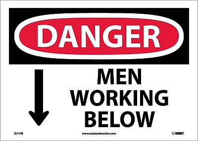 Danger, Men Working Below, 10X14, Adhesive Vinyl