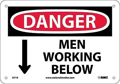 Danger, Men Working Below, 7X10, Rigid Plastic