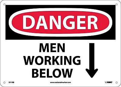 Danger, Men Working Below, 10X14, Rigid Plastic