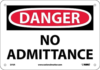 Danger, No Admittance, 7X10, Rigid Plastic