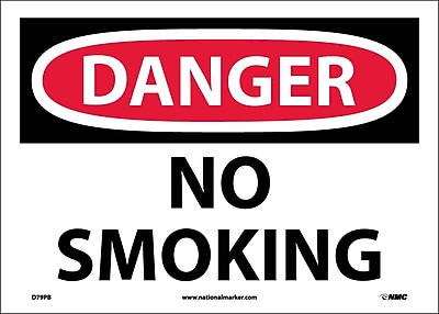 Danger, No Smoking, 10X14, Adhesive Vinyl