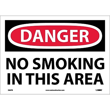 Danger, No Smoking In This Area, 10X14, Adhesive Vinyl