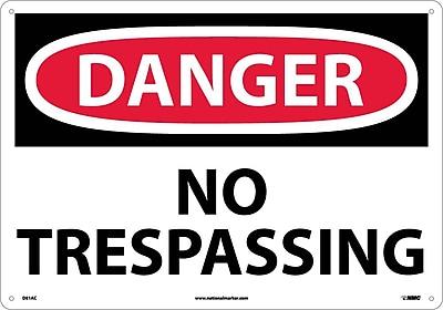 Danger, No Trespassing, 14X20, .040 Aluminum